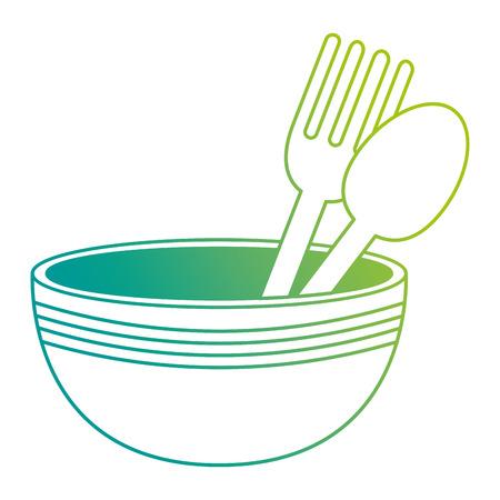 kitchen bowl with cutleries vector illustration design