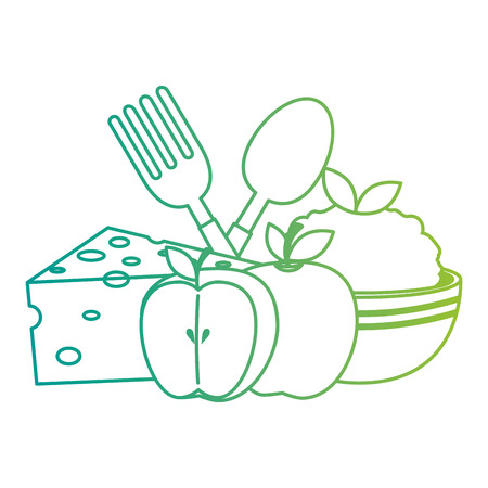 kitchen bowl with mashed potatoes and cutleries vector illustration design Çizim