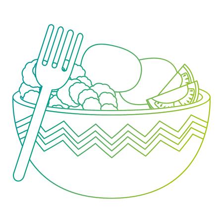 kitchen bowl with lettuce and potatoes vector illustration design Standard-Bild - 112283202