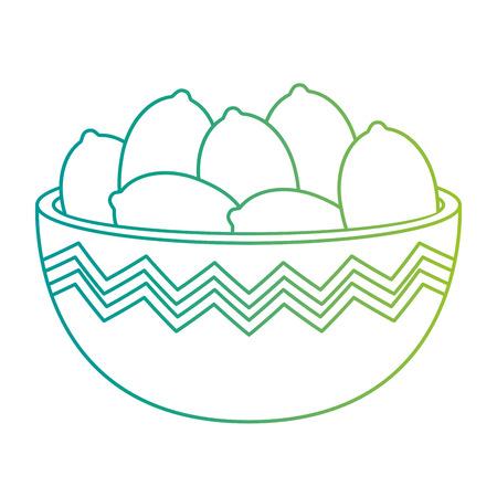 kitchen bowl with lemons vector illustration design