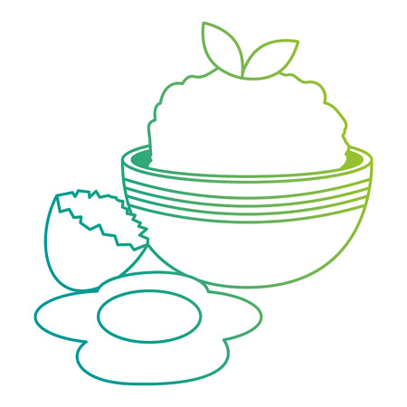 kitchen bowl with mashed potatoes and egg broken vector illustration Standard-Bild - 106037345
