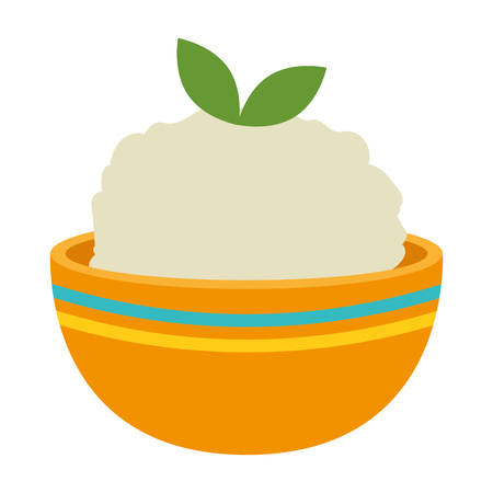 kitchen bowl with mashed potatoes vector illustration design Standard-Bild - 112283208