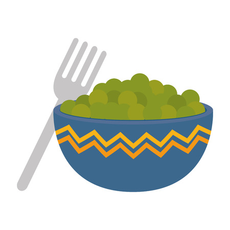 kitchen bowl with beans vector illustration design Standard-Bild - 112283214