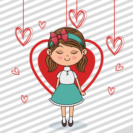 beautiful girl with hearts hanging kawaii character vector illustration design Illusztráció