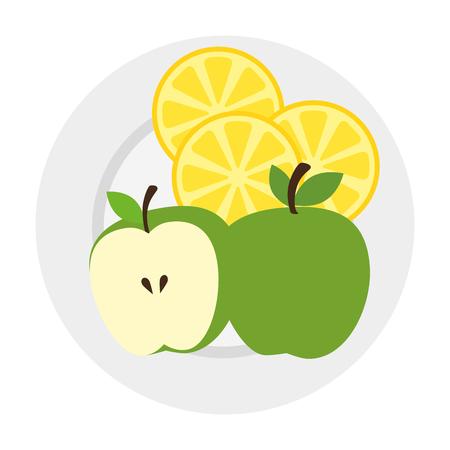 dish with apple fresh and lemon vector illustration design