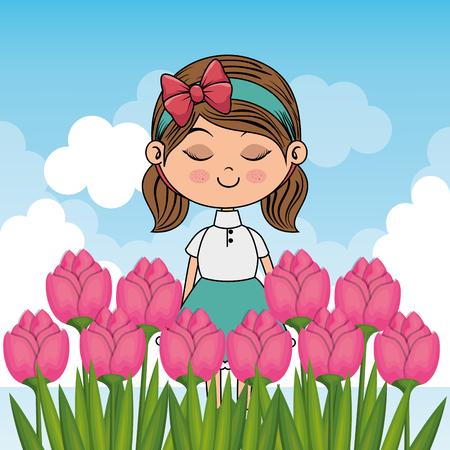 beautiful girl in the roses garden kawaii character vector illustration design Ilustrace