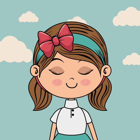 beautiful girl with clouds kawaii character vector illustration design