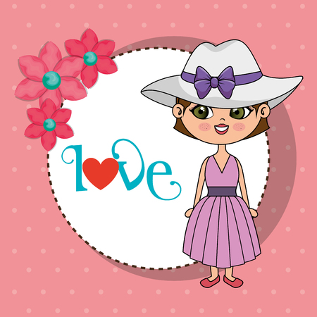 beautiful girl with love frame kawaii character vector illustration design