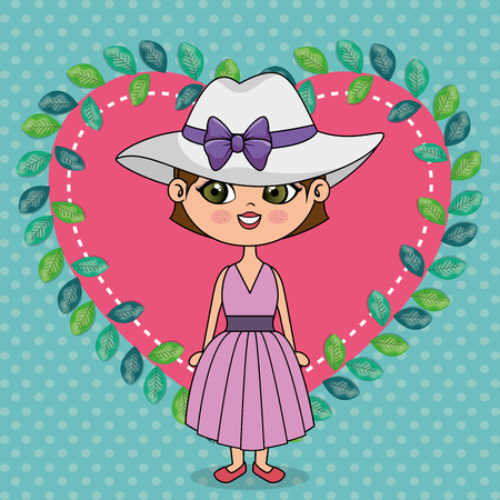 beautiful girl with heart floral frame kawaii character vector illustration design Illusztráció