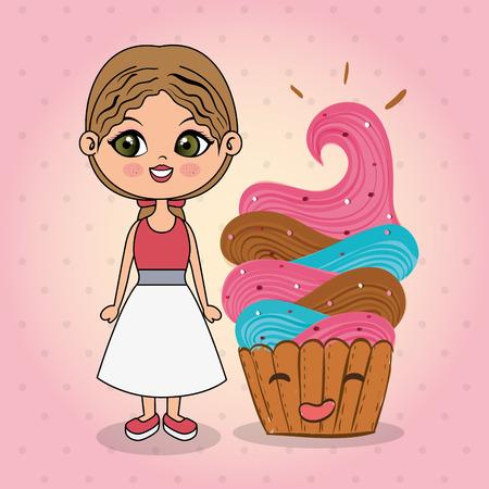 beautiful girl with cupcake kawaii characters vector illustration design