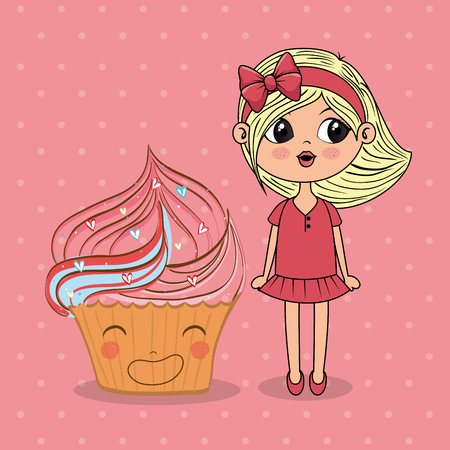 beautiful girl with cupcake kawaii characters vector illustration design