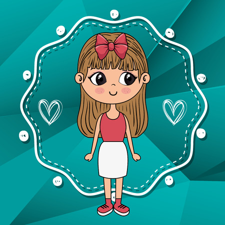 beautiful girl with hearts and lace  character vector illustration design