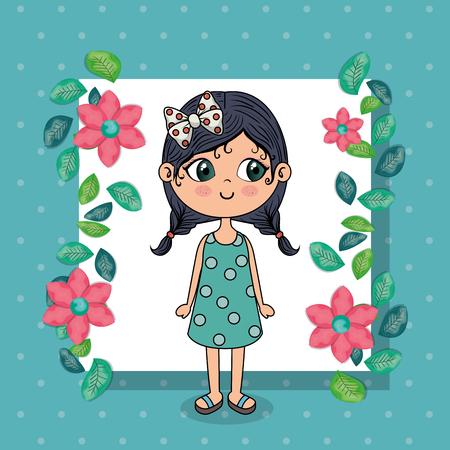 bella ragazza con cornice floreale kawaii carattere illustrazione vettoriale design