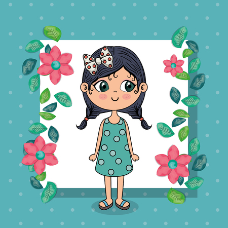beautiful girl with floral frame kawaii character vector illustration design