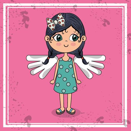 beautiful girl with wings kawaii character vector illustration design