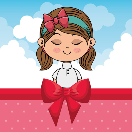 beautiful girl with clouds and bown ribbon vector illustration design