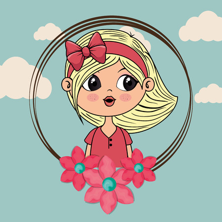 beautiful girl with floral frame kawaii character vector illustration design