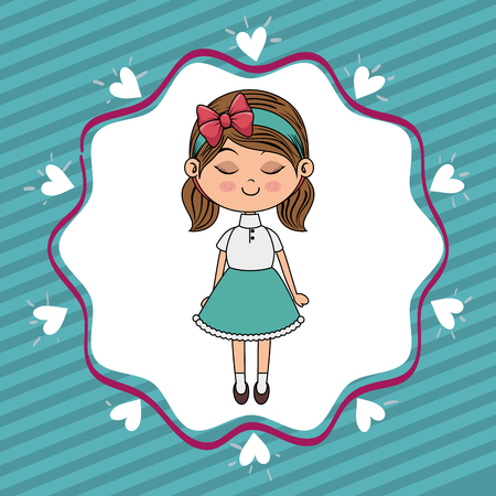 beautiful girl with hearts lace kawaii character vector illustration design Illusztráció