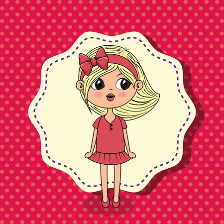 beautiful girl kawaii character vector illustration design