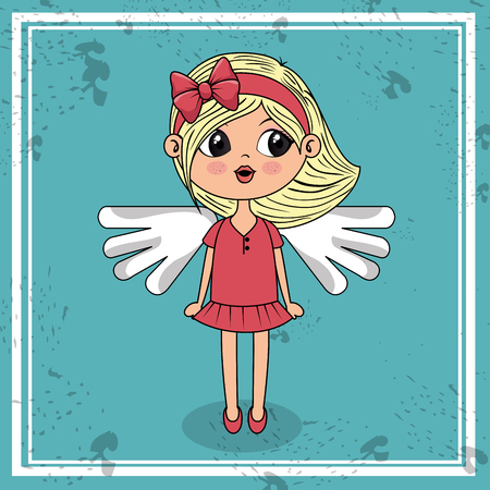 beautiful girl with wings kawaii character vector illustration design