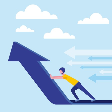 beard businessman pushing arrow financial business vector illustration Illustration