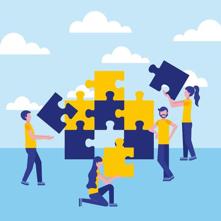 business people with pieces jigsaw puzzle vector illustration Illustration
