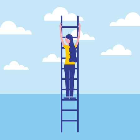 business woman climbing stairs success vector illustration