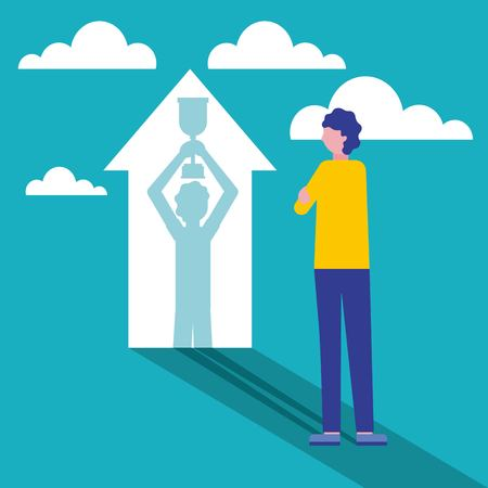 man projected on arrow win business vector illustration