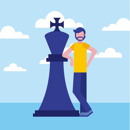 beard man business with chess king piece vector illustration