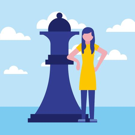 woman business with chess queen piece vector illustration