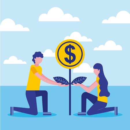 man and woman with plant coin money business vector illustration