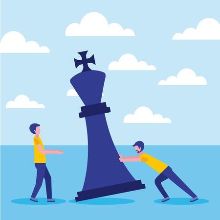 collègues hommes d'affaires avec la figure du roi des échecs vector illustration