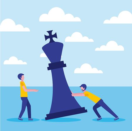 businessmen colleagues with the figure of the king of chess vector illustration