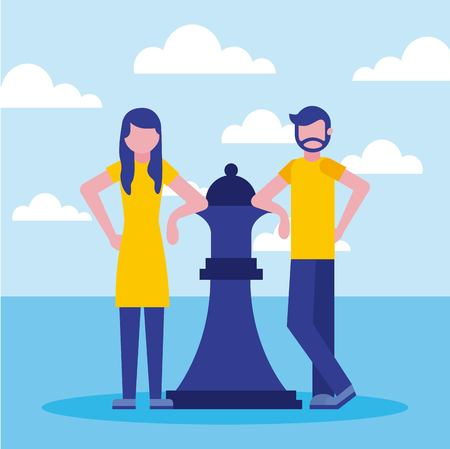 businessman and woman with queen chess business vector illustration