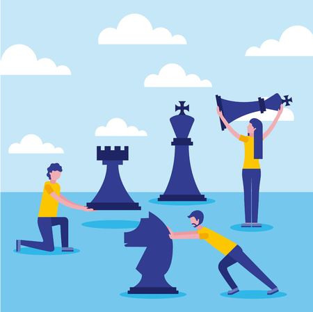 businesspeople with figures chess business vector illustration