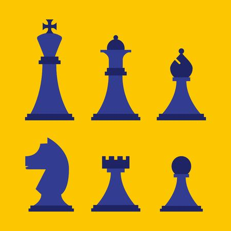 business chess pieces set strategy game vector illustration