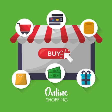 online shopping shop store stickers coins money gift box car credit cards vector illustration  イラスト・ベクター素材