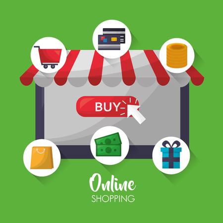 online shopping shop store stickers coins money gift box car credit cards vector illustration Ilustração