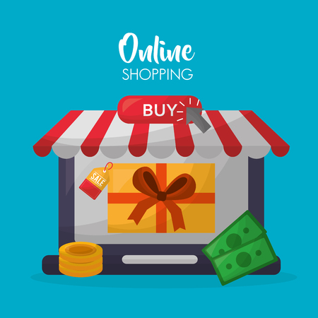 online shopping store shop gift box coins money buy things vector illustration 写真素材 - 112258985