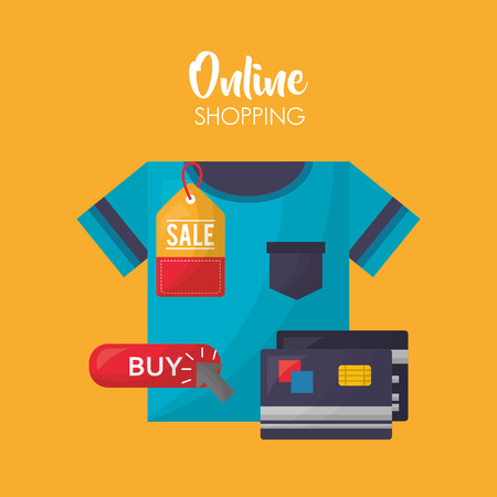online shopping blue shirt credit cards sale clothe vector illustration