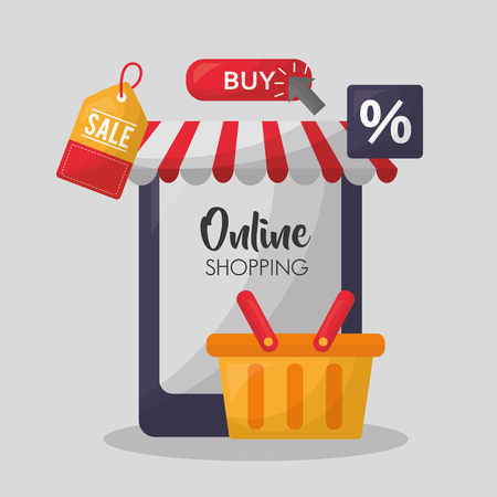 online shopping smartphone store basket porcent discount things vector illustration