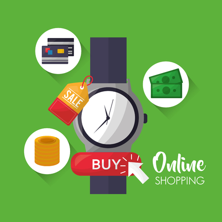 online shopping green background big wristwatch coins money credit card sale vector illustration Illustration