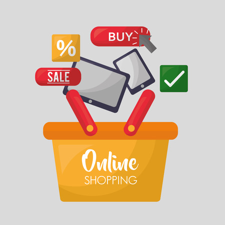 online shopping basket sale technology buy porcent discount vector illustration