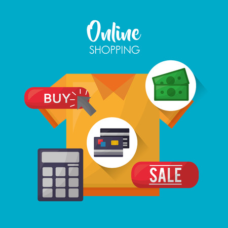 online shopping yellow shirt buy calculator money credit cards vector illustration
