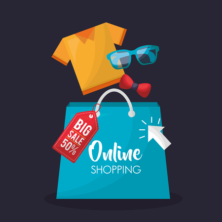 online shopping glasses shirt shop bag big sale discount vector illustration Иллюстрация