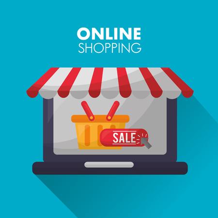 online shopping store shop basket with sign sale vector illustration Illustration