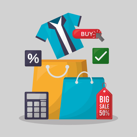 online shopping handbags colors calculator porcent shirt discount vector illustration