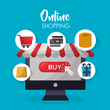 online shopping computer sticker gift box shop bag credit cards coins car vector illustration