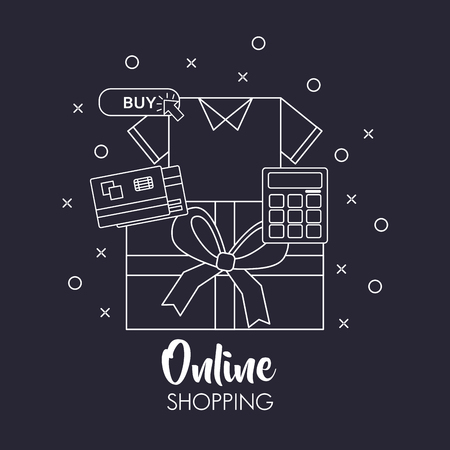 online shopping shirt calculator credit card gift box bubbles retro background vector illustration
