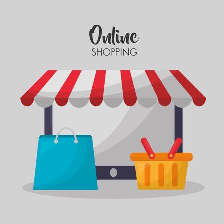 online shopping store shop bag basket vector illustration Illustration